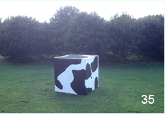 Bob Budd. Cubic Cow. 2004. metal and paint.