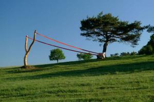 קורנליה קונרדס. שלודריץ. 2010. גזע עץ, גומי,צבע, ספסל. 4X14X3 מטר. גרמניה