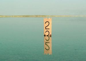 Ehud Schori. 2+3=5. 2006. Marker on plywood. 80 cm tall. The Dead Sea, Israel.