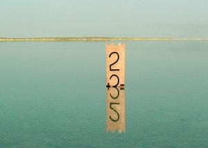 """אהוד שחורי. 2+3=5. 2006. מרקר על דיקט. גובה 80 ס""""מ. ים המלח, ישראל."""
