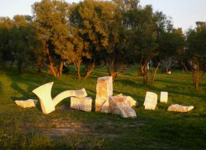 """Axe"".2007. Mitzpe Stone. 120x600x400 cm. The Green gallery, Israel."