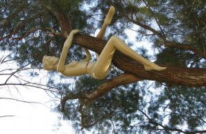 "Back to the Trees"", 2009. Tree, Plastic mannequin. 60x150x100 cm. The Green gallery, Israel."