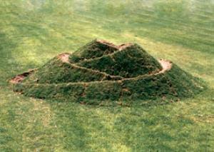 """""""Bud"""".1989. Soil, grass. 180x600x400 cm.Givat-Brener, Israel"""