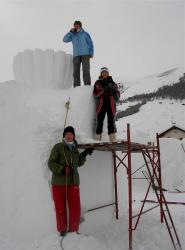 GG group in the snow sculpture symposium in Levigno, Italy