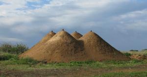 "Pyramid"", 2009. Soil. 400X1200X1200 cm. The Green gallery, Israel."