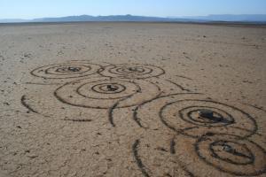סטרידום ואן דר מרווה. סימני מים. 2007. חול שנמצא באתר. 2 X 10 מ'. טנקווה קארו, דרום אפריקה. www.strijdom.co.za