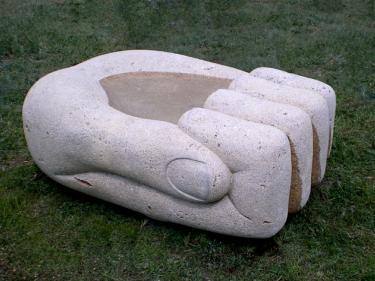 """Bowl"", Turkey 2008. Travertine 60 X 140 X 110 cm."