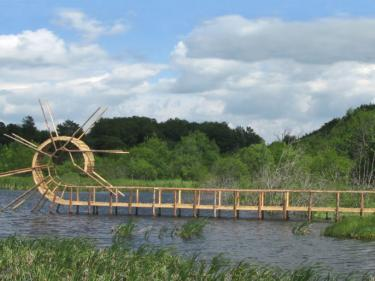 """Back Flip Bridge, France 2009. Wood, 550 x 1850 x 80 cm."