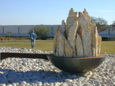 """""""Soucepan"""", Israel 2004. Stone, concrete, iron, 280 X 450 X 240 cm."""