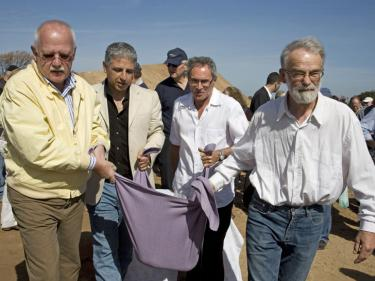 Ojars Feldbergs (right), Dani Manheim and Eli Bracha - יead of Hof Hasharon Local Council.